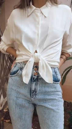 Diy Clothes Life Hacks, Clothing Hacks, Cute Casual Outfits, Stylish Outfits, Simple Outfits, Look Fashion, Trendy Fashion, Diy Fashion Hacks, Fashion Tips
