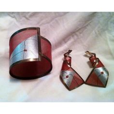 Reduced VTG  painted metal earrings & bracelet Gorgeous mixed media bracelet and earrings - pink /silver hand painting - bracelet is roughly 2 1/2 inches wide - earrings are 2 1/2 inches long Jewelry Bracelets