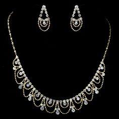 Gold Rhinestone Drape Jewelry Set - Affordable Elegance Bridal -