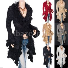 Trendy Ruffles Lace Tiered Hem Button Up Cardigan Long Sweater Jacket in Clothes, Shoes & Accessories, Women's Clothing, Jumpers & Cardigans | eBay!