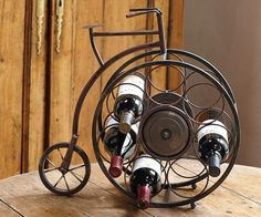 Metal Tabletop Bicycle Wine Bottle Holder from Hammer-Lindholm (Official) Bottle Rack, Wine Bottle Holders, Wine Bottles, Metal Projects, Welding Projects, Iron Furniture, Wine Design, Iron Art, In Vino Veritas