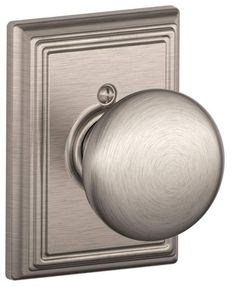 View the Schlage F170PLY619ADD Satin Nickel Single Dummy Plymouth Door Knob with Decorative Addison Rosette at Build.com.