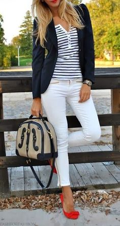 Casual outfit find more women fashion on misspool.com Replace the white pants with navy perhaps?