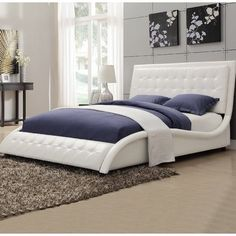 Looking for A Line Furniture Modern Style Wave Design White Upholstered Bed King ? Check out our picks for the A Line Furniture Modern Style Wave Design White Upholstered Bed King from the popular stores - all in one. White Upholstered Bed, Upholstered Platform Bed, Tufted Bed, Upholstered Headboards, Platform Beds, Unique Headboards, Unique Bedding, Custom Bedding, Coaster Furniture
