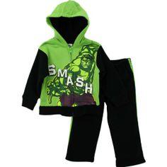 "Amazon.com: Marvel Incredible Hulk ""Smash"" Green Toddler Hoodie & Pants Set: Clothing"