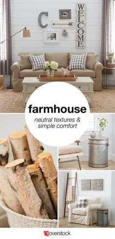 The key to capturing the farmhouse look is light, clean surfaces paired with comfortable furniture, and familiar accents. Farmhouse furniture displays worn edges and imperfections as if passed down over time. If your home décor style is farmhouse, pin this to your own board with #OverstockSweepstakes. Then comment on this pin with the link to your pin-board for a chance to WIN a $500 Overstock.com gift card!
