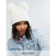 My Accessories Beanie with Double Faux Fur Pom ($25) ❤ liked on Polyvore featuring accessories, hats, cream, pom pom beanie hat, beret hat, faux fur beanie, chunky knit hat and pom pom hat