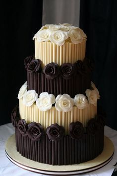 Vanilla Chocolate Tiered cake with flower & side detailing