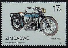 Douglas 1920 Motorcycles & Motorbikes -Handmade Framed Postage Stamp Art 10866