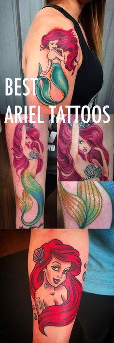 Little Mermaid Tattoo Ideas for Women - Princess Ariel Arm Sleeve Forearm Red Hair Green Tail Realistic Disney