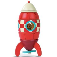 Your child's imagination will blast off with this colorful wooden Rocket Ship with a cool retro look, featuring a little astronaut and a moveable propeller. This wooden rocket is an educational toy th