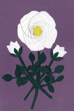 Iris folded an Paper pieced rose