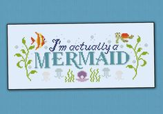 Im actually a Mermaid quote  PDF cross stich by cloudsfactory, $5.00