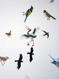 Pájaros, detalle.  Pinturas por Agustín Sirai