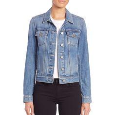 Paige Denim Rowan Denim Jacket ($210) ❤ liked on Polyvore featuring outerwear, jackets, apparel & accessories, stark, paige denim, denim jacket, paige denim jacket, long sleeve jacket and blue jean jacket