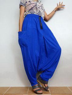 Cobalt blue In Drop crotch with Zipper long trouser,Unisex harem baggy unique…                                                                                                                                                                                 More
