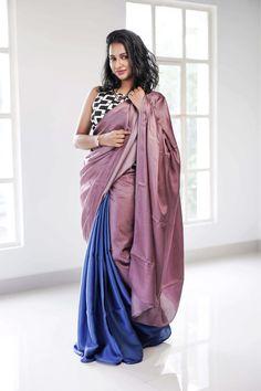 Saree Color Combinations, Beautiful Color Combinations, Saree Draping Styles, Saree Styles, Latest Designer Sarees, Latest Sarees, Silk Satin, Blue Satin, Modern Saree