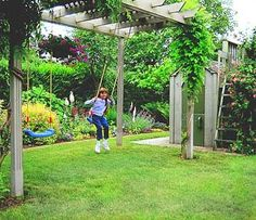 New backyard patio ideas kids swing sets ideas Yard Swing, Kids Swing, Pergola Swing, Backyard Pergola, Play Swing, Bench Swing, Pergola Roof, Back Gardens, Outdoor Gardens