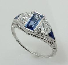 Antique Art Deco 1.90ct Diamond Sapphire 18k White Gold Filigree Engagment Ring