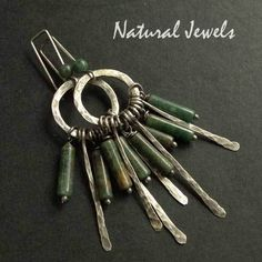 Earrings totally handcrafted from Sterling and Fine silver and African Jade.   These are earrings in the Earthy style, a robust and rustic type of han