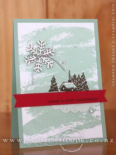 If you love nostalgic Christmas images, then you can't go past the Cozy Christmas stamp set. This card is simple enough to mass produce and has lots of wow - especially that gorgeous snowflake. Check out the blog post to find out how to get a glossy white snowflake with the Snowflake Elements. www.creativestamping.co.nz | Stampin' Up! | 2015 Holiday Catalogue