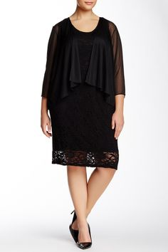 Lace Dress & Chiffon Jacket (Plus Size) by Tiana B. on @nordstrom_rack