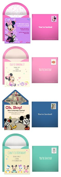 Paper invites are too formal and emails are too casual. Get it just right with online invitations from Punchbowl. We've got everything you need for your Disney themed party. http://www.punchbowl.com/disney/groups/minnie-mouse/?utm_source=Pinterest&utm_medium=2.108P