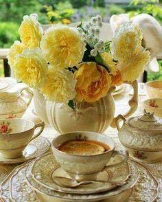 Vintage tea set with flowers
