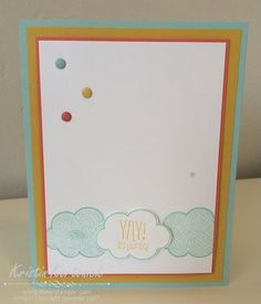 Love the clouds in the Think Happy stamp set by Stampin' Up!  Created by Kristin Kortonick