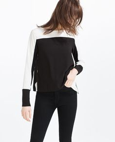 Image 2 of TWO-TONE CONTRASTING TOP from Zara