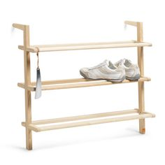 Gaston shoe rack. Clean and minimal, I even like the small brand stamp on the right leg.