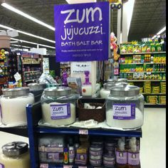 Zum Jacuzzi make your own bath salts bar   Also love the Zum Bar soaps.  Oatmeal Cookie is my fave!