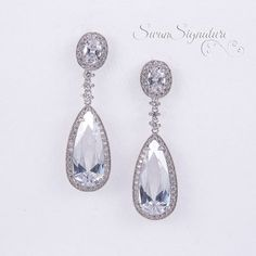 Crystal Bridal earrings Wedding jewelry Swarovski by SwanSignature
