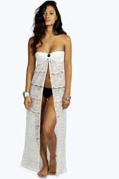 buymadesimple.com: Lace Bandeau Beach Maxi Cover Up - white