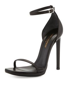 Must find a knock-off/look-a-like pair of these Jane Leather Ankle-Wrap Sandal by Saint Laurent, or find $795 to buy them. I'm pretty sure the latter is not an option.