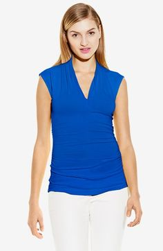 Women's Vince Camuto Pleated V-Neck Top