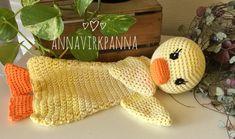 Mönster Anksnuttis / Pattern DuckRagdoll – AnnaVirkpanna Crochet Lovey, Crochet Baby Toys, Crochet Birds, Baby Blanket Crochet, Crochet For Kids, Crochet Animals, Crochet Dolls, Snuggle Blanket, Free Crochet
