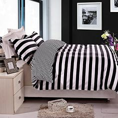 NTBAY Black and White Stripe Printing Microfiber Reversible 3 Pieces King Size Duvet Cover Set with Hidden Button (King, Striped)