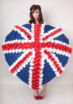 Heart Shaped Union Jack Umbrella - 300 Hand Sewn Flowers - Show / Display Piece £175