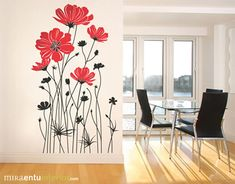 Would like to get a tattoo with red poppies Wall Painting Decor, Mural Wall Art, Wall Drawing, Room Paint, Wall Design, Wall Stickers, Interior Decorating, Room Decor, Stencil
