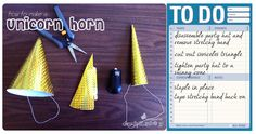Unicorn Horn Tutorial - easy to make - perfect for a unicorn birthday party! #DIY #craft #howto