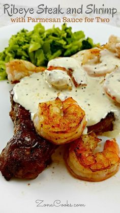 Ribeye Steak and Shrimp with Parmesan Sauce for Two - Tender, juicy grilled Ribeye steak is topped with seasoned grilled shrimp and a savory Parmesan cheese sauce. This is an Applebee's Copycat recipe with a few small twists. (Bake Dinner For Two)