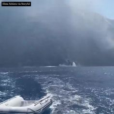 """ABC7NY on Instagram: """"WHOA: Boaters who were sailing off the coast of Italy made a quick getaway after a volcanic eruption sent ash and rocks towards their…"""" Category 5, Dust Storm, Boater, Tsunami, Aurora Borealis, Volcano, Geology, Ash, Sailing"""
