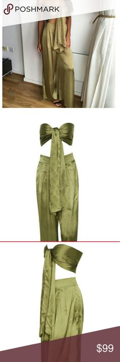 Olive green satin jumpsuit Brand new, never worn. Ordered from a site that doesn't take returns. Gorgeous color, gorgeous fabrication just too short for me to wear with heels. Smoke/pet free home! Other