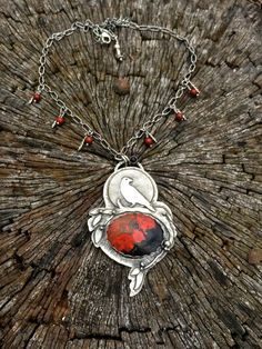 Artisan fine silver Raven and Sonoran Sunrise agate necklace by Julie Crawford of Crawford Creek Designs on Etsy