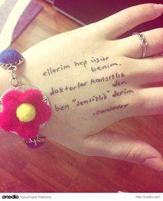 'Ellerim hep üşür benim' ~E Cool Words, My Photos, Messages, Tumblr, Love, Feelings, Wordpress, Garden, Herbs