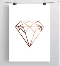 Faux Rose Gold Print Faux Copper Wall Art Geometric Diamond Poster Rose Gold…