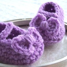 Purple Crochet Baby Shoes  Mary Jane Booties with by puddintoes, $16.00