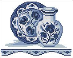 "Golden Fleece ""Vase with a dish"" Biscornu Cross Stitch, Cross Stitch Owl, Cross Stitch Kitchen, Cross Stitch Flowers, Cross Stitching, Modern Cross Stitch Patterns, Cross Stitch Designs, Delft, Blackwork Embroidery"