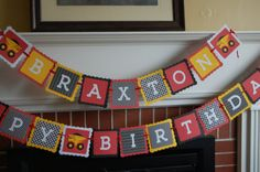 Dump Truck Happy Birthday And Name Banner by GiggleBees on Etsy, $39.00